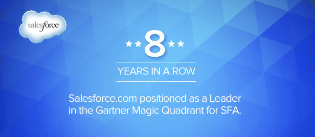 Gartner Positions Salesforce.com as a Leader in the Magic Quadrant for SFA