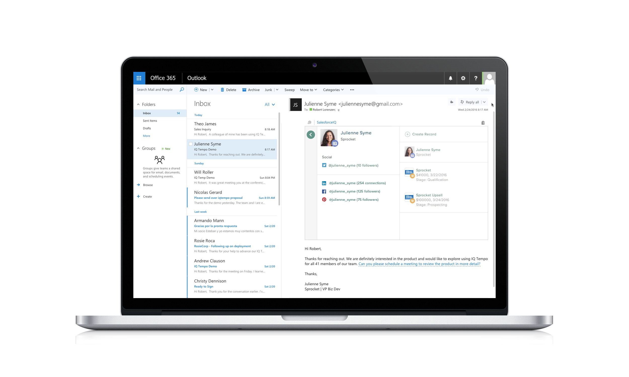 SalesforceIQ Powers Outlook Users with Relationship Intelligence